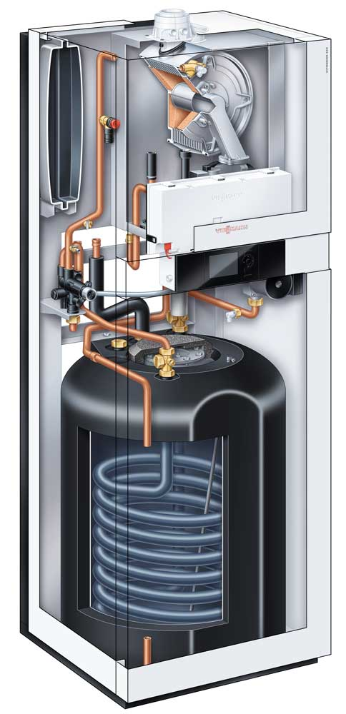 Gasheizung - Vitodens 222-F Schnitt Visualisierung